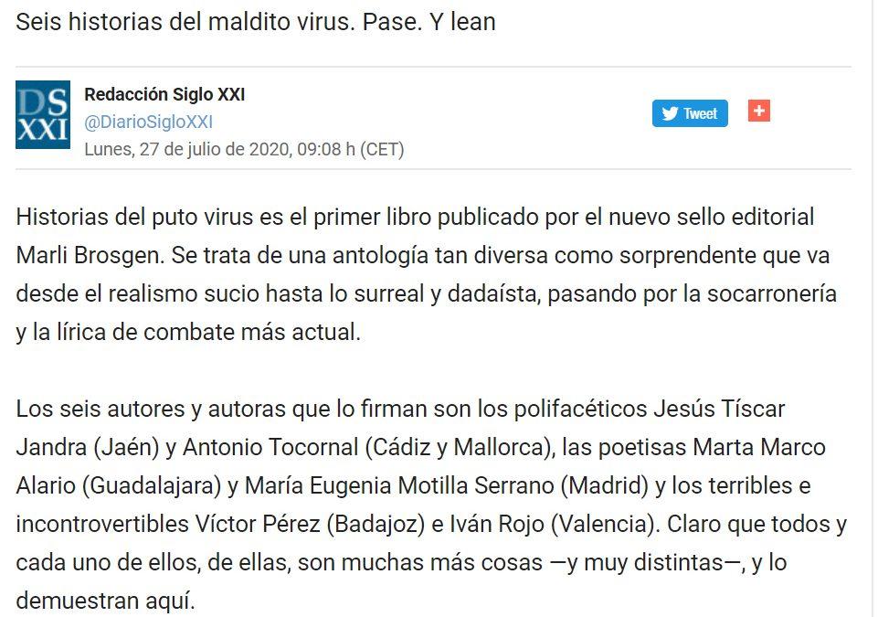 Diario Siglo XXI: «Marli Brosgen publica Historias del puto virus. El primer título de esta editorial fue escrito durante el confinamiento»