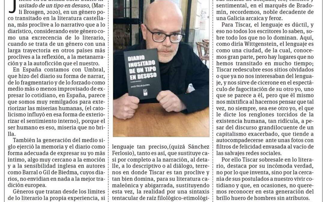 Joaquín Fabrellas: «Tíscar hace fácil el milagro, escribir bien, porque es muy difícil escribir bien, y mas difícil aún, escribir como lo hace Jesús Tíscar, créanme  «